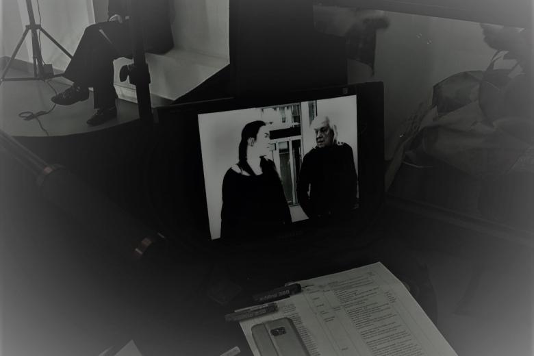 Rebekka Waitz und Willy Praml Filmset Liftboy5
